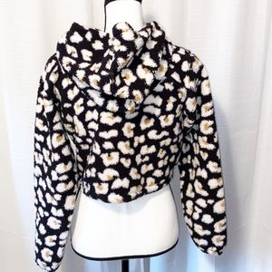 Wild Fable cropped animal print furry hoodie XS